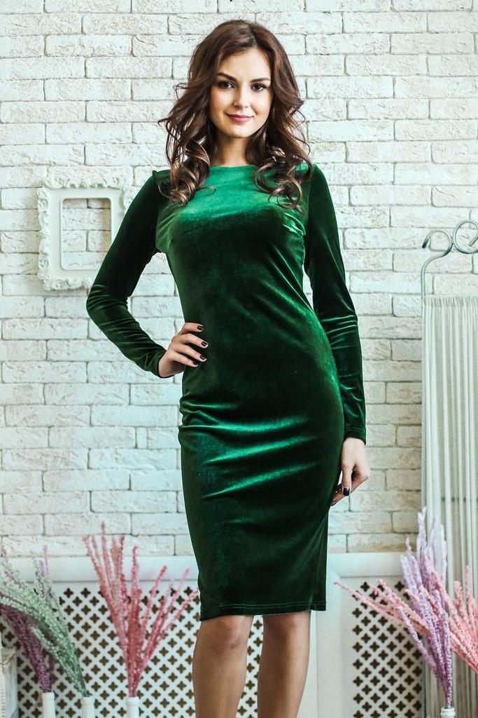 Фото платья из зеленого бархата