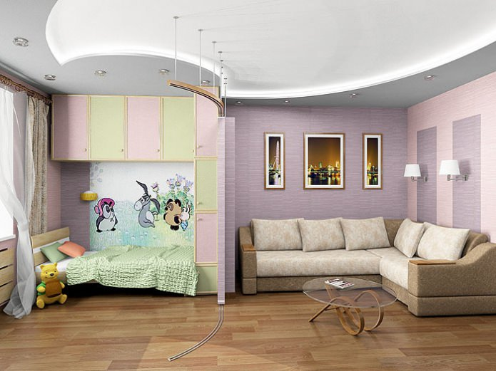 Как из зала сделать гостиную и детскую