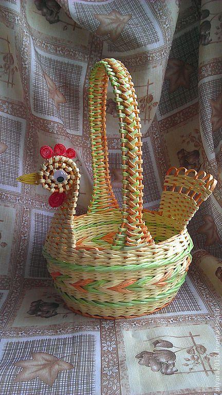 Плетение из газетных трубочек корзинки пасхальной