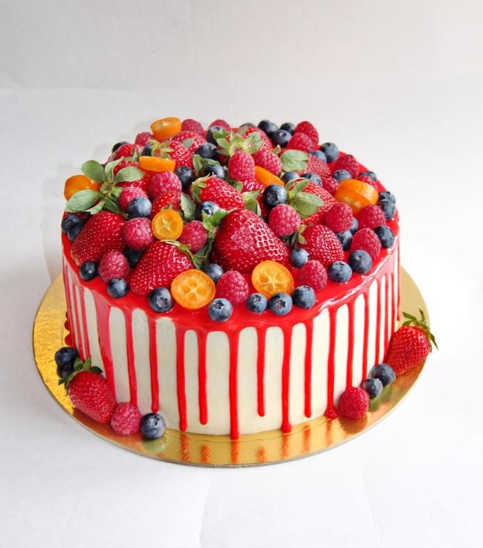 Украсить торт фруктами и ягодами своими руками фото 73