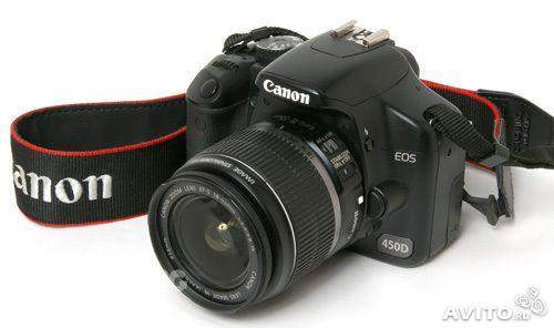 Фотоаппарат Canon 450D (нерабочий) + объектив  Canon 18-55