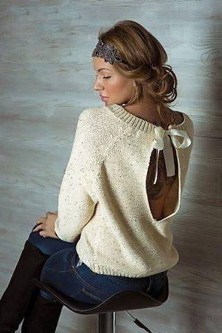 Вязаный Пуловер С Открытой Спиной