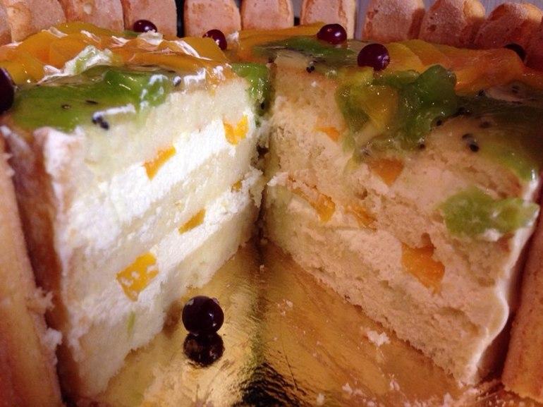 Торт с фруктами внутри