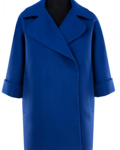 01-7424 Пальто женское демисезонное Кашемир Синий