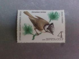 Марка 4к 1979 год СССР Хохлатая синица