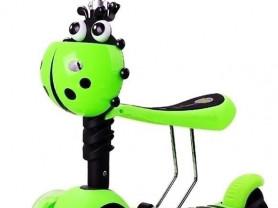 Самокат Scooter 3 в1 Божья Коровка! Салатовый цвет