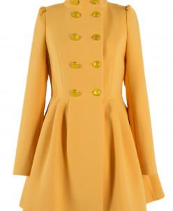 01-4983 Пальто женское демисезонное Кашемир Желтый