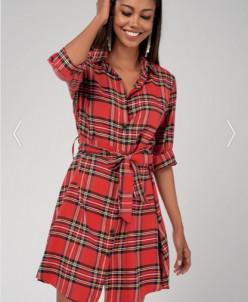 Cool & Sexy Kadın Kırmızı Gömlek Elbise Yİ16
