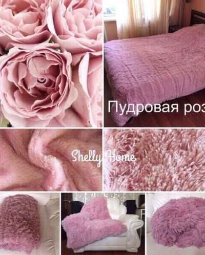 Плед пушистый цвет пудровый