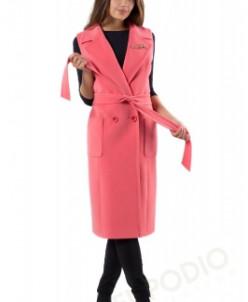 14-0005-96 Пальто женское демисезонное (пояс) Кашемир Розовы