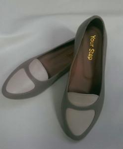 Балетки с заострённым носком темно-бежевого цвета