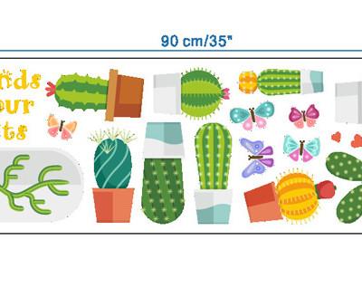 Наклейка многоразовая интерьерная «Кактусы»