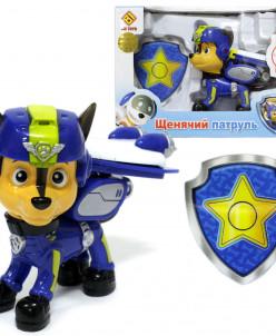 Щенок-спасатель cо спецрюкзаком 9см + полицейский значок
