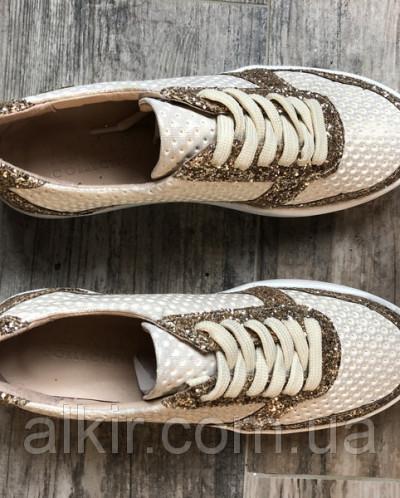 Кроссовки №478-10 прокол беж золото+камни золото (21801 идеа
