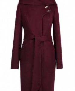 01-8061 Пальто женское демисезонное Валяная шерсть Вино