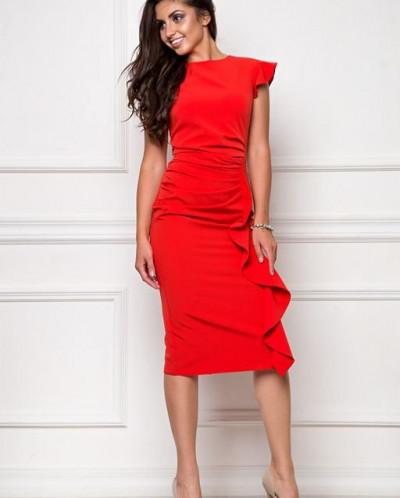 Платье из костюмной ткани красный (П-37-3)