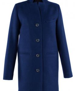 01-5293 Пальто женское демисезонное Валяная шерсть Синий