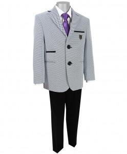 Стильный костюм для мальчика, белый с черным