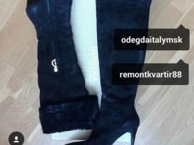 Ботфорты сапоги новые Dibrera Италия размер 39 замша чёрные зима мех овчина каблук шпилька 10 см классика обувь