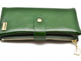 Кожаный женский кошелек JCCS зеленый