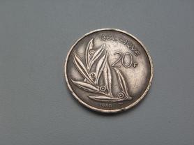 Монета 20 Франков 1980 год Бельгия
