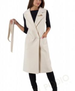 14-0005-100 Пальто женское демисезонное (пояс) Кашемир Белый