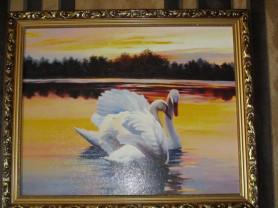 картина лебеди 56*46