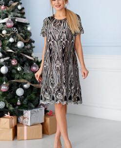 Платье Жасмин белая вышивка пайетки П-216-3