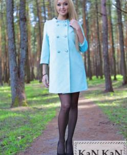 Летнее пальто из жаккарда классический стиль (бирюза)