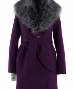 02-0830 Пальто женское утепленное (пояс) Кашемир Фиолетовый