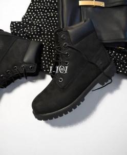 Ботинки женские высокие черные, ЗИМА на меху