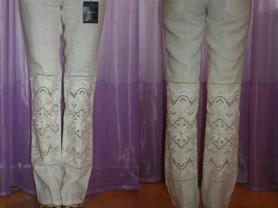 Брюки новые клёш Dolce&Gabbana Италия размер 46 М лён бежевые штаны Одежда бренд