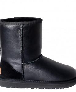 Чёрные обливные классические женские угги