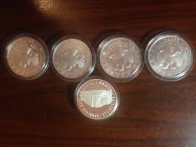 монеты серебро 3 рубля 2010 5 шт.