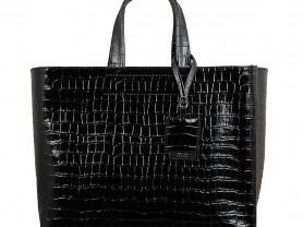 Новая большая черная лакированная сумка Италия