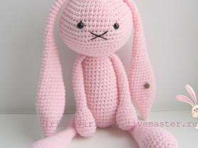 Зайка Розовое облачко игрушка вязаная