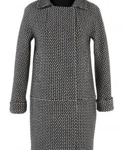 01-4892 Пальто женское демисезонное Твид Черно-белый Пальто