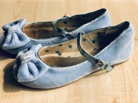 Новые балетки голубые бархатные M&S Kids, р. 32