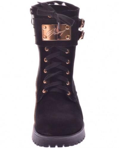 Женские замшевые ботинки на шнуровке (байка/экомех/цигейка)