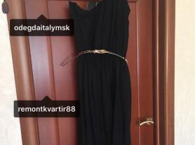 Сарафан платье длинный новый чёрный размер S M L 42 44 46 48 вискоза ткань мягкая пояс под золото кожзам Модель на одно плечо на резине и на талии качество супер