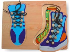 Новый деревянный пазл-шнуровка «2 ботинка»