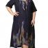Темно-синее льняное платье 500186