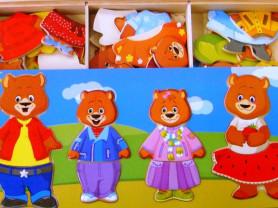 Деревянный пазл Медведи для детей от 1 года