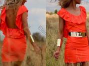 Пляжное платье-туника с воланом