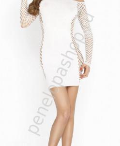 Эффектное платье с сетчатыми длинными рукавами