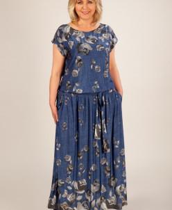 Платье Анджелина-2 джинс/цветы серые