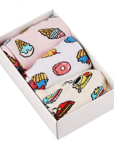 """Носки женские в подарочной упаковке """"Десерт"""", 3 пары"""
