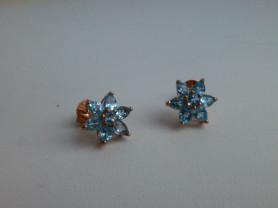 серьги-пусеты серебро с позолотой + топазы