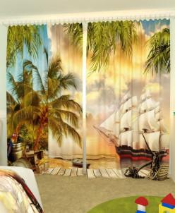 Детские фотошторы Пиратский парусник Габардин