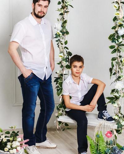 """Одинаковые рубашки для папы и сына """"Аквамарин"""""""